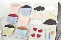 ❤️felt cupcake board.  I like the idea to use for a 3 tiered cake.
