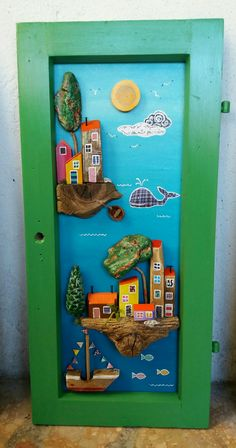 driftwood art by Sanja Alfirevic: Great use of pine cone, love the colors & painted bark for trees! Handmade Crafts, Diy And Crafts, Arts And Crafts, Paper Crafts, Stone Painting, Painting On Wood, Painted Rocks Craft, Rock And Pebbles, Graffiti Murals
