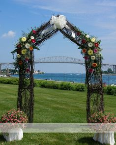 Twig arch decorated for a wedding