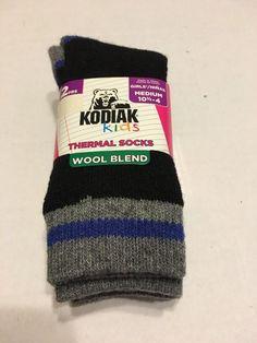 Girls Socks Shoe Size Medium 10 5 4 Thermal Wool Blend Black Royal   eBay