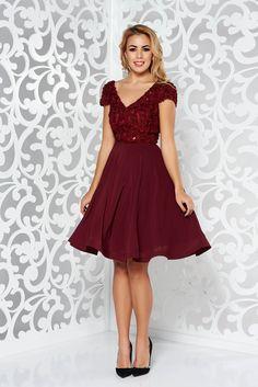 "StarShinerS burgundy short sleeve occasional dress cloche, sequin embellished details, bright details, floral details, ""V"" cleavage, back zipper fastening, raised flowers"