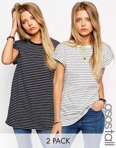 Image 1 ASOS - The Easy - chemises rayées Pack 2, vous économisez 15%