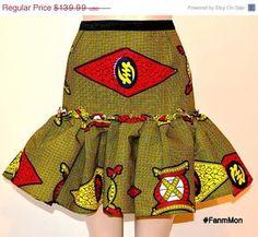 Afircan print ruffle flounce skirt ankara sexy skirt by FanmMon African Dresses For Kids, Latest African Fashion Dresses, African Inspired Fashion, African Print Fashion, Africa Fashion, African Attire, African Wear, African Women, African Print Skirt