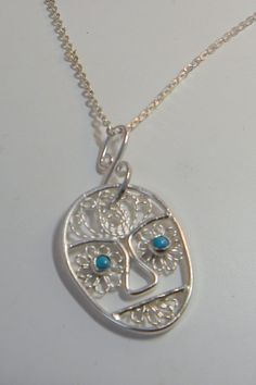 Silver Filigree Necklace Sugar Skull by selectjewelrydesigns