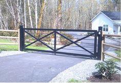 Front Yard Fence, Front Gates, Entry Gates, Farm Entrance Gates, Driveway Entrance Landscaping, Backyard Fences, Metal Driveway Gates, Pipe Fence, Farm Gate