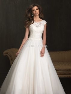 482ec88fec Romantic Scoop Neckline Lace Applique and English Net Chapel Length Train  Wedding Ball Gown