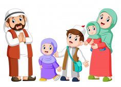 Happy arab family couple with children vector