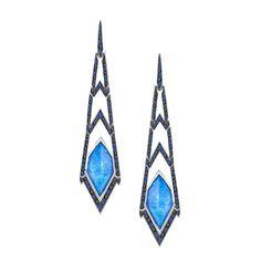 Stephen Webster Lady Stardust 18K White Gold Black Diamond, Blue Sapphire and Opal Drop Earrings - Traditional Jewelers - http://www.traditionaljewelers.com