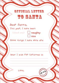 Letter to Santa - Fun to do with your child & send off to north pole! Have to save this one for next year! :)