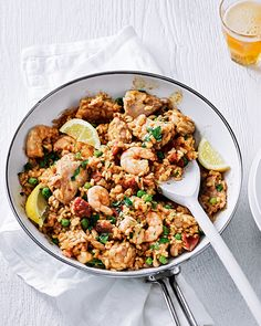 A quick and easy alternative to your traditional paella but keeping chicken and prawn for a winning combination. This recipe can be made in just under an hour.