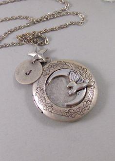 Bunny Moon,Locket,Silver Locket,Rabbit,Bunny,Persoanlize,Monogram,Antique Locket,Antique,Moon,Love You. jewelry by valleygirldesigns.. $35.00, via Etsy.