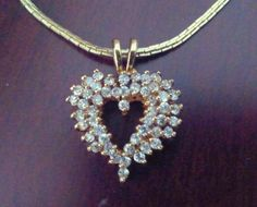 Gold Vermeil CZ Heart Pendant Sterling Silver by TrendyTreasures1, $49.99 #Teamlove #EcoChic