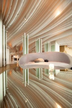 beautiful ceiling treatment, well photographed with the tabletop reflection. Hilton Pattaya by Dept of Arch ♒ www.pinterest.com/WhoLoves/Beautiful-Buildings ♒  #Architecture