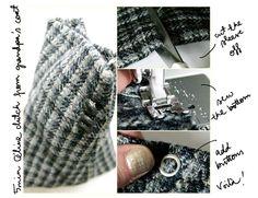 DIY 5 min Céline clutch from grandpa's coat -tutorial