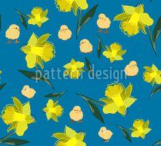 Küken Im Narzissenregen Rapportmuster by Sonja Glisovic at patterndesigns.com Vektor Muster, Spring Blossom, Vector Pattern, Surface Design, Pikachu, Patterns, Floral, Fictional Characters, Art