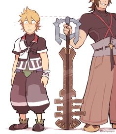 Imaginative Reblogs : Photo Roxas height same with Terra's keyblade