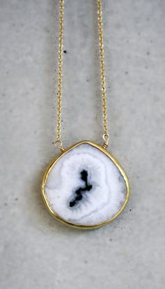 White Solar Quartz Bezel 14k Gold Filled Necklace by shopkei