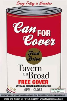 Tavern on Broad Is Best Venue Can for Cover Benefiting Philabundance! November 21, 2014 Let's put the fun back into FUNdraising! Every Friday in November, receive FREE entry into Tavern on Broad with a canned good donation!