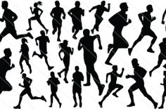 People Running  Silhouette Vector (20)