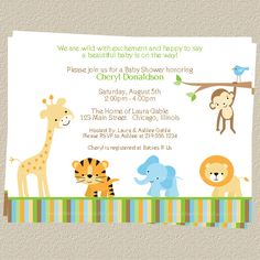 Jungle Baby Shower Invitations Zoo or Safari by TheInviteLadyShop, $7.00