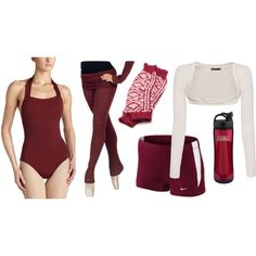 """Ballet Practice Outfit"" by hanne-bonte on Polyvore... I like the burgundy leggings"