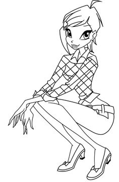 Winx Club Roxy Was Waving Hands Coloring Pages Colouring