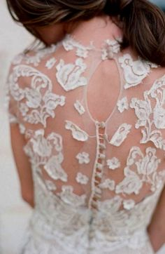Wedding gown back detail | white lace | sheer | embroidery