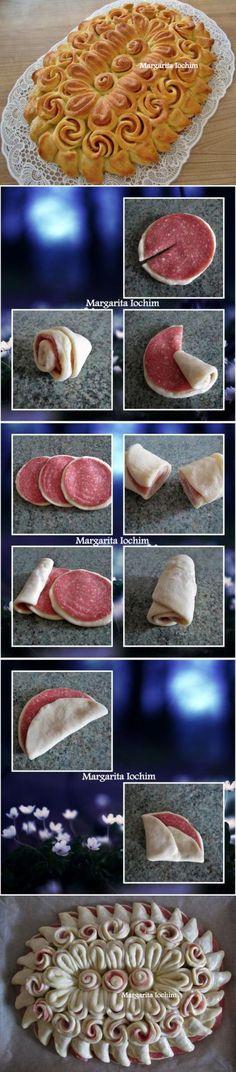 Пирог из дрожжевого теста с колбасой «Салфетка» : Выпечка несладкая | Кулинария | Постила
