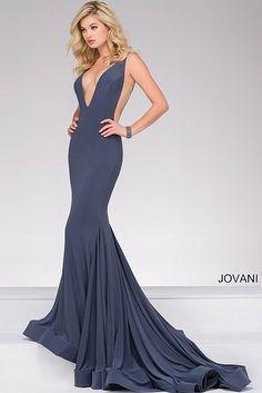 Gunmetal Plunging Neckline Jersey Prom Dress 46756