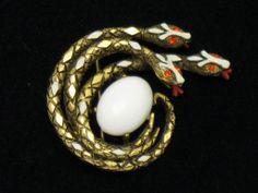 Vintage  ART Enamel Glass Rhinestone Figural Snake Serpent Brooch Pin BK PC  Purchase from http://www.rubylane.com/shop/atouchofrosevintagejewels