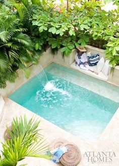 Interior designer Beth Webb indulges in respite on the plunge pool sun shelf, where a Sunbrella cushion and Madeline Weinrib pillows provide punchy comfort. Outdoor Decor, Home Decor, Plunge Pool, Ideas, Garden, Homemade Home Decor, Interior Design, Decoration Home, Home Interiors