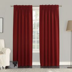 Sun Zero 2-pack Gramercy Room Darkening Curtains, Red