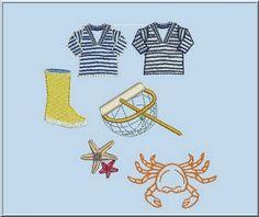 Motif de broderie sur le thème de la mer