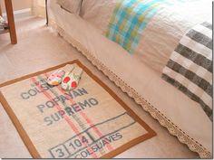 Coffee burlap rug...