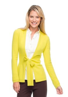 Classic white blouse with a colorful cardigan great for work