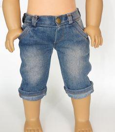 American Girl Doll Clothes. Denim Capri Pants. by SillyMonkeyInc