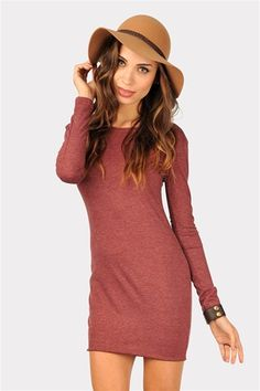 Sara Slim Longsleeve Dress - Wine