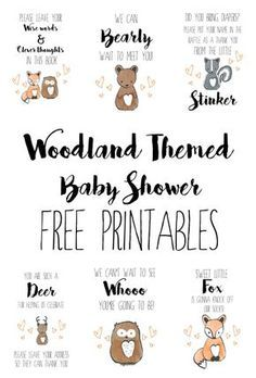Woodland Baby Shower Free Printables