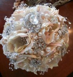 Elegant Bridal Gem Bouquet  $160   What do you guys think of a brooch bouquet?