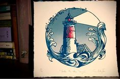 Nauset Light - 2018 Print by Paprika Press  #inspiration #nautical #paprikapress #paprikapressprintshop #beach #ocean #nauset #lighthouse #capecod #print #printmaking #linocut #blockprint #carving #handmade #greetingcard #printmaker #illustration #art