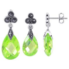 Sterling Silver Faceted Pear Shaped Apple Green Cubic Zirconia and Marcasite Accents Post Back Findings 8mm x 21mm Stud Earrings and 10mm x 23mm Pendant Jewelry Set