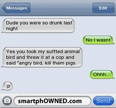 idiot text message | Dude you were so drunk last night | No i wasnt | Yes you took my ...