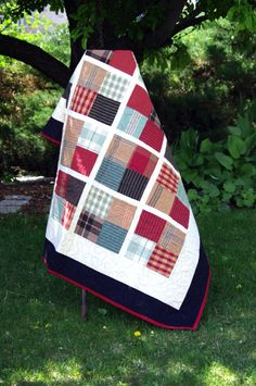 Quilt made out of stipes or checked or plaid fabrics....country look