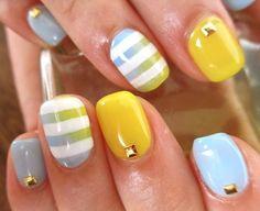 gradient, stripes, rhinestones...this look has it all!