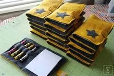 How to make a felt journal cover  - size can vary of course! How about pens and pencils instead of crayons?