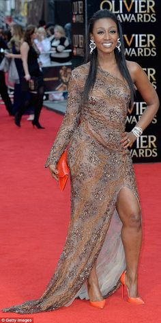 Soul singer Beverley Knight was less successful in the style stakes last night, wearing a brown silver and copper embellished one shoulder dress with a thigh high spli Beverly Knight, Soul Singers, Thigh Highs, Put On, Ruffles, Black Women, Awards, Shoulder Dress, Copper