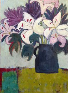 """Daily Painters Abstract Gallery: Contemporary Abstract Still Life Art Painting """"Pink Lilies"""" by Santa Fe Artist Annie O'Brien Gonzales Easy Flower Painting, Flower Art, Guache, Still Life Art, Arte Floral, Painting & Drawing, Drawings, Daily Painters, Santa Fe"""