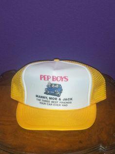 94f0bbc88f PEP BOYS Manny Moe Jack Logo Men s Yellow Snapback Otto Trucker Cap Hat  Vintage  Otto. Bonés ChapéusBoné RegulávelOl