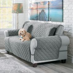 Protect your furniture from spills, pet hair, and dirty paws with soft and durable furniture covers. They're machine-washable. Just toss in your washer! Diy Sofa Cover, Couch Covers, Furniture Covers, Furniture Sale, Oversized Couch, White Leather Dining Chairs, Sofa Protector, Hamster, Ideas Hogar