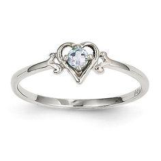 14k White Gold Genuine Aquamarine March Birthstone Heart Ring – Sparkle